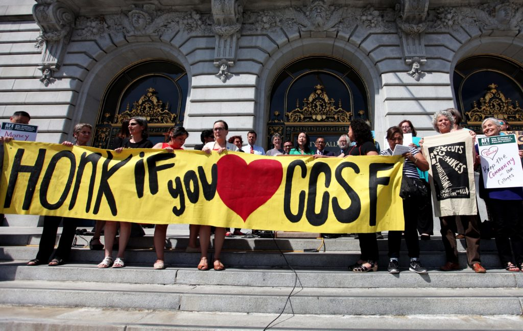 CCSF students, faculty and supporters gather on the steps of City Hall to introduce a proposal for free community college for all in San Francisco, Calif. Tuesday, April 19, 2016. (Ekevara Kitpowsong/Special to S.F. Examiner)